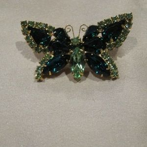 Vintage emerald and greens butterfly brooch